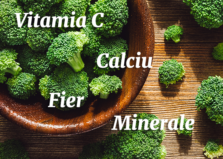 broccoli in castron de lemn si text cu beneficii